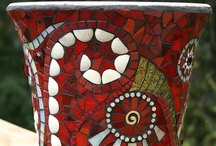 Mosaic Vases / Feeling inspired to create a mosaic?  Use PromoCode PIN5 to save 5% off all of your handcut, stained glass tiles at www.MosaicTileMania.com. / by Mosaic Tile Mania