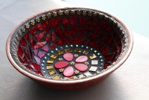 Mosaic Dishes / Feeling inspired to create a mosaic?  Use PromoCode PIN5 to save 5% off all of your handcut, stained glass tiles at www.MosaicTileMania.com.