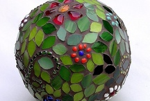 Mosaic Spheres & Bowling Balls / Feeling inspired to create a mosaic?  Use PromoCode PIN5 to save 5% off all of your handcut, stained glass tiles at www.MosaicTileMania.com.