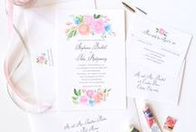 wedding invitations / beautiful watercolor, floral and letterpress wedding invitation suites / by michelle mospens