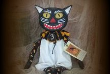 PRIMITIVE  Halloween Black Cats,  Witches & Pumpkin Dolls / All my dolls can be seen on Ebay simply-tattered https://www.facebook.com/SimplyTatteredPrimitives/ SimplyTattered Primitive creations can be ordered directly from here. Simplytattered@yahoo.com Please order early during holidays I take no orders, I am too busy.