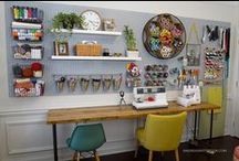 Home/Mom Office / Space for work at home moms, sewing, crafts, DIYs, she sheds, also a guest room and work out room.