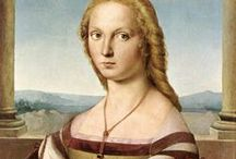 Raphael (1483 – 1520) / Raffaello Sanzio da Urbino (1483 – 1520), better known simply as Raphael, was an Italian painter and architect of the High Renaissance. His work is admired for its clarity of form and ease of composition and for its visual achievement of the Neoplatonic ideal of human grandeur. Together with Michelangelo and Leonardo da Vinci, he forms the traditional trinity of great masters of that period. / by Saskia Darcy