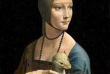 "Leonardo da Vinci (1452 – 1519) / Leonardo di ser Piero da Vinci (1452 – 1519) was an Italian Renaissance polymath: painter, sculptor, architect, musician, mathematician, engineer, inventor, anatomist, geologist, cartographer, botanist, and writer. His genius, perhaps more than that of any other figure, epitomized the Renaissance humanist ideal. Leonardo has often been described as the archetype of the Renaissance Man, a man of ""unquenchable curiosity"" and ""feverishly inventive imagination"".  / by Saskia Darcy"