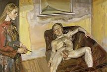Lucian Freud (1922 – 2011) / Lucian Michael Freud, OM, CH (1922 – 2011) was a German-born British painter. Known chiefly for his thickly impastoed portrait and figure paintings, he was widely considered the pre-eminent British artist of his time. His works are noted for their psychological penetration, and for their often discomforting examination of the relationship between artist and model. / by Saskia Darcy