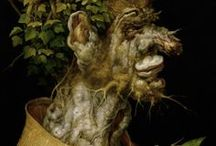 Giuseppe Arcimboldo (1526 – 1593) / Giuseppe Arcimboldo (1526 – 1593) was an Italian painter best known for creating imaginative portrait heads made entirely of such objects as fruits, vegetables, flowers, fish, and books – that is, he painted representations of these objects on the canvas arranged in such a way that the whole collection of objects formed a recognizable likeness of the portrait subject. / by Saskia Darcy
