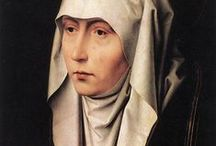 Hans Memling (1430 – 1494) / Hans Memling (also spelled Memlinc) (1430 – 1494) was a German-born painter who moved to Flanders and worked in the tradition of Early Netherlandish painting. He spent some time in the Brussels workshop of Rogier van der Weyden, and after Rogier's death in 1464, Memling was made a citizen of Bruges, where he became one of the leading artists, painting both portraits and diptychs for personal devotion and several large religious works, seamlessly continuing the style he learned in his youth. / by Saskia Darcy