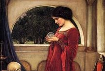 John William Waterhouse (1849 – 1917)  / John William Waterhouse (1849 – 1917) was an English painter known for working in the Pre-Raphaelite style. Borrowing stylistic influences not only from the earlier Pre-Raphaelites but also from his contemporaries, the Impressionists, his artworks were known for their depictions of women from both ancient Greek mythology and Arthurian legend. / by Saskia Darcy
