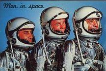Space Age / space race astronauts sputnik mid-century futurism