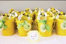 """Baby Bumble Bee / Plan a whimsical baby shower or first birthday with these ideas for a bumble bee theme party! Incorporate yellow and black decorations, sweet baby shower favors, bumblebee birthday DIY crafts, and delicious recipes with golden honey. We also love the idea of a """"What will it bee?"""" gender reveal baby shower! / by Punchbowl"""