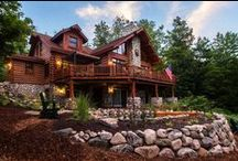 Fox Woods by Dickinson Homes / A Chalet style Hybrid Log Home designed & built by Dickinson Homes.  All modular construction.