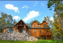 Johnson Cottage by Dickinson Homes / An amazing hybrid log chalet cottage designed & built by Dickinson Homes.  Completely custom featuring log trusses, chef kitchen, masonry fireplace, and 3,430 square feet over two floors.  All modular construction.