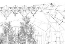 119 - Matthew Lucraft / Roughly distinguishing between the technical and experiential components of the project through his use of drawing methods, Lucraft's line drawings detail the complex building envelope while his renderings of aerial perspectives illustrate demonstrate the more atmospheric and ephemeral qualities of The Icelandic Forestry Commission. / by The Draftery