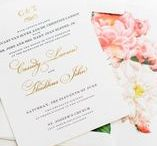 Wedding Invitations / Classic, Watercolor, White, Floral, Rose Gold, Blush