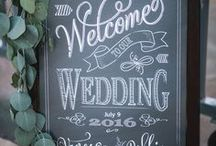 Wedding Welcome Signs / Welcome Signs - wedding, rustic, chalkboard, mirror, vintage, calligraphy, gold, greenery, garland, florals, wood