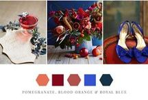 Pomegranate, Blood Orange + Royal Blue / Deep pink and red paired with tangerine orange and royal blue wedding colors.