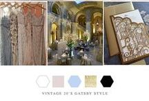 20s style Gatsby vintage / Cream, black and gold with pale pink, blue and greens