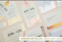 Stationery: Modern Metallics / Max out on luxe & lustre with our Modern Metallics collection. We all love a bit of sparkle... Available in gold, rose gold, copper and silver, with a choice of ribbon colours to suit your style.