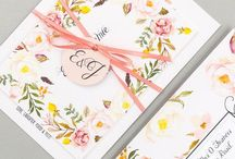 Stationery: Floral Affair / Beautiful & romantic wedding stationery collection finished with calligraphy style font.  Our unique tag-style invitations feature a fabulous perforated RSVP page. Guests simply tear off, pop on a stamp, et viola!