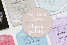 Stationery: Heritage Sprig / Classic & elegant invitation, featuring a pretty yet subtle sprig design.