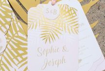 Stationery: Palms / Palms Wedding Stationery & Invitations  Adorned with stunning on-trend palms in shimmering metallic gold foil.
