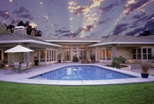 Beautiful Swimming Pool Decking / Detailed Beautiful Crafted Concrete and Travertine Decking / by Jim Chandler