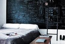 INTERIOR | BLACK WALLS /  A mix of blackwalls and blackboard walls   - chalkboard paint - schoolbordverf - black boards #BLACKBOARD