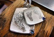 LoveMark Fingerprint Jewelry / Fingerprint jewelry has been a very unique way of expressing your love and affection for one another.  Our unique fingerprint jewelry is custom made and one of a kind!  Some of our customers just love our LoveMark Fingerprint Jewelry  featuring fingerprints from grandparents, siblings, parents and friends. / by Simone & Son Jewelers Custom Jewelry