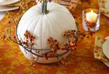 Fall Decor and Interiors / Lots of pumpkins, orange and white. Wreaths made from real leaves and berries. Table decor that is stunning.