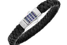 Läderarmband / Snygga #Läderarmband i Silver med #Safirer hittar du hos Tessard