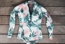 Water Sports Outfits for Girls / Board shorts, bikinis, wetsuits, rash guards, caps, hats, snickers, flip-flops, t-shirts & many other cool staff for a kitesurfer, surfer, paddle boarder & any other outdoors girls