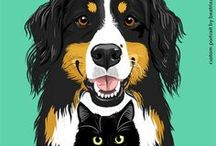 Pet Portraits / Searching for modern and colourful dog breed prints and products? Dreaming of gazing at fashionable felines? Look no further! We have many prints available, and are adding more all the time.  Rather have your own animal immortalized in print? We are ready to start drawing! We are passionate about getting our portraits just right—we won't stop until we have captured the spirit of your furry friend.