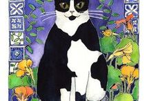 Cat Art / Cat Art is one of my very favourite things! You too? Cat art by other artists makes me happy. Our resident kitties (and cat angels too) inspire me to make paintings and lino prints.   Fur babies of friends and family draw us in to paint their portraits...  Cat art sits (elegantly) at the intersection of wildness and domesticity!
