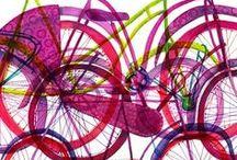 Bike Art / Bike art. Art *on* bikes. Art featuring bikes. Colourful bikes.