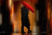Umbrella Love ♥ / I love umbrella art...especially the pop of a red umbrella.