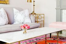 living room / non-boring living rooms | bookshelves | cozy spaces | colorful rugs | funky decor