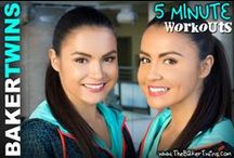 5 Minute Workouts / Spend only 5 minutes a day working out with us! These exercises can be done anywhere! You can watch all of these 5 minute workouts on our YouTube channel! -Shannon Baker & Shauna Baker