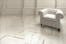 Marble 2.0 / While some tile companies focus on luxurious white marble such as calacatta, carrara and statuario, others continued to expand their marble lines to include creamy tones of travertine and darker hues like Saint Laurent and Berimbau. In addition, novel shapes (hexagon and chevron), overlaid designs and three-dimensional surfaces (pillowed edges and linear folds) are added to the mix.