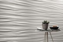 3D Wall / With continuously evolving technologies, Italian companies are able to create ceramic tiles with three dimensional folds, wavy ridges, raised geometry and asymmetrical profiles. Fitting these tiles together creates a three dimensional wall with a seamless sculpted surface that naturally draws the eye.