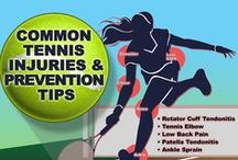 Tennis Injuries & Prevention / Common tennis injuries include injuries to the ankle, knee and wrist. Incorrect technique, failure to warm up and cool down, and previous injury can all lead to injuries while playing tennis.  Tips on preventing tennis injuries and identifying overuse and trauma injuries.