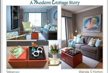 Creating a Modern Cottage / Cottage living is often thought of as being defined by smaller spaces and a more casual, carefree way of living.    Modern design has influences from as far back as the late 1800's, where the influence of German Bauhaus and Scandinavian simple lines are seen as new and fresh, in today's time.  When the two worlds meet, it's a union of function and whimsy!    Wanda Suitt-Horton, one of our blog contributors and an interior designer, shares a client's home, showcasing a Modern Cottage style.