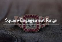 Square Cut Engagement Rings / View the square engagement rings featuring brilliant halo rings, inspired by Art Deco patterns, in quadrangle shape releasing an antique charm.