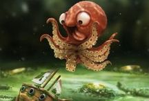 arrrrgh, pirates / and sailors, and anchors, and boats, and peter pan, and ships, and mermaids, and kraken-octopus things