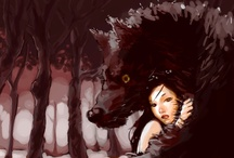 full moon / wolves. werewolves, and little red riding hood, ok there's a couple of dogs that kinda look like wolves too. *;)