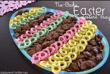 Easter Ideas / Cooking, decorating and crafting ideas for Easter!  Easy Easter dessert trays made from fresh fruit or artfully arranged yogurt-covered pretzels and chocolate bunny cookies.  Easy Easter crafts and DIYs, pastels, jelly beans and springtime fun!