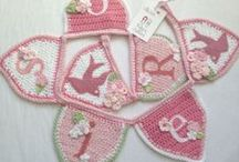 Handmade Crochet Bunting by Ruby and Custard / Beautiful handmade crochet bunting decorated with felt, buttons and handmade flowers
