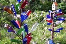 ~BOTTLE TREES & WHIMSIES~ / ~Old folklore has it that using glass bottles to capture or repel bad spirits that roamed at night would be lured into and trapped in bottles placed around entryways, and morning light would destroy them.