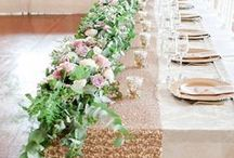 Wedding Table Runners / Get stunning wedding table runner Ideas and inspiration for your wedding reception table runners. From fresh floral runners, to eucalyptus runners, to gorgeous tulle and romantic fabric runner ideas!