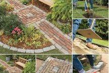 Backyard: Deck, paver stones, groundcovers, gazebo