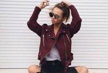 Burgundy / burgundy outfits, fall burgundy outfits, outfit, looks, burgundy looks, burgundy bomber jacket, burgundy leather jacket